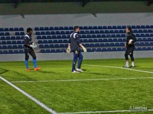 Carlos Gómez en el entrenamiento de porteros
